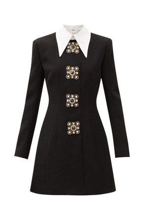 Andrew Gn - Oversized-collar Crystal-brooch Wool-blend Dress - Womens - Black