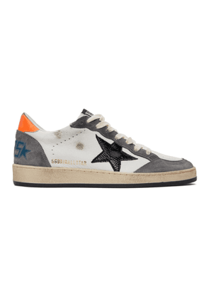 Golden Goose White and Grey Ball Star Sneakers