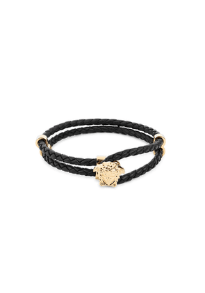 Versace Black Medusa Woven Leather Bracelet