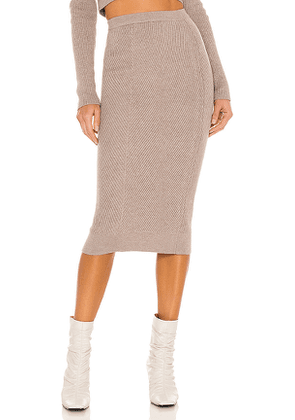 L'Academie Sienna Midi Skirt in Taupe. Size M, S, XS.