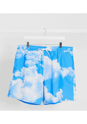 ASOS DESIGN Plus swim shorts with all over cloud print in mid length-Blue