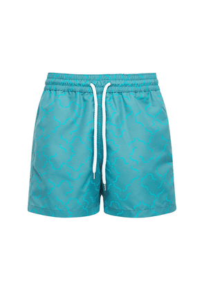 Linear Print Tech Swim Shorts