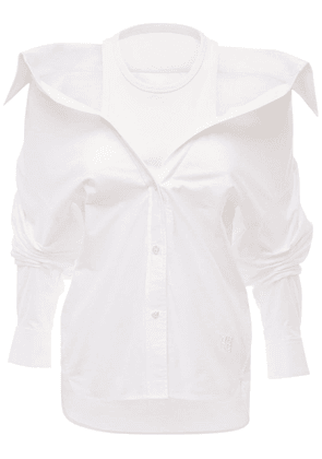 Off-the-shoulder Cotton Poplin Shirt
