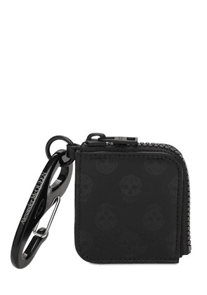 Skull Print Leather Zip Pouch