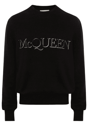 Logo Embroidery Cotton Knit Sweater