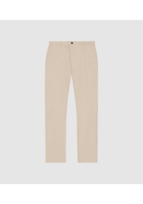 Reiss Felder - Washed Slim Fit Chinos in Sand, Mens, Size 30