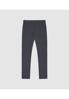 Reiss Pavese - Textured Slim Fit Trousers in Navy, Mens, Size 32