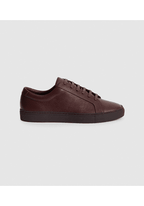 Reiss Luca - Tumbled Leather Sneakers in Pomegranate, Mens, Size 7