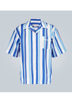 Striped camp-collar shirt