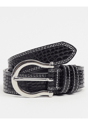 ASOS DESIGN slim belt in black croc faux leather with contrast double stitch and horseshoe buckle