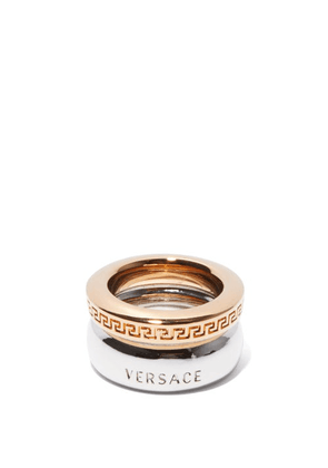 Versace - Greca-engraved Gold & Silver-tone Ring - Womens - Silver Gold