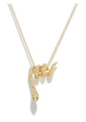 Ileana Makri - Diamond & 18kt Gold Snake-pendant Necklace - Womens - Yellow Gold