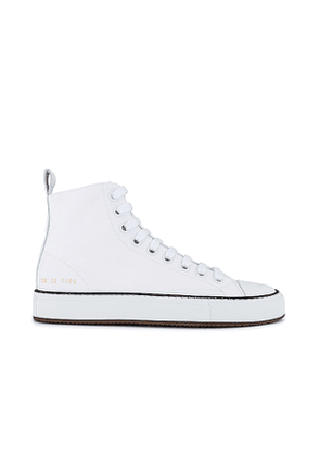 Common Projects Tournament High Sneaker in White. Size 35.