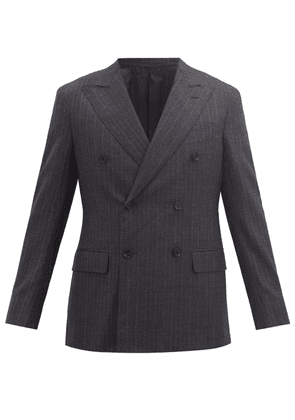 Caruso - Double-breasted Peak-lapel Pinstriped Wool Jacket - Mens - Grey