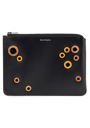 Acne Studios Eyelet-embellished Suede-trimmed Leather Pouch Woman Black Size --