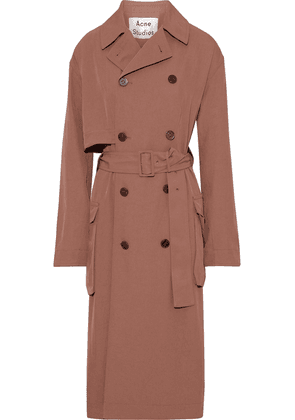 Acne Studios Belted Twill Trench Coat Woman Brown Size 38