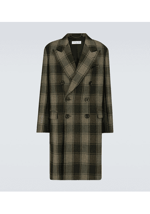 Double-breasted wool checked coat
