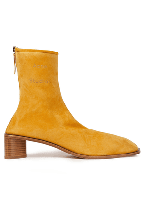 Acne Studios Logo-print Suede Ankle Boots Woman Mustard Size 35