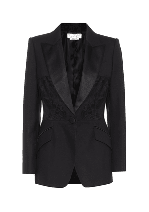 Lace-trimmed wool and silk blazer