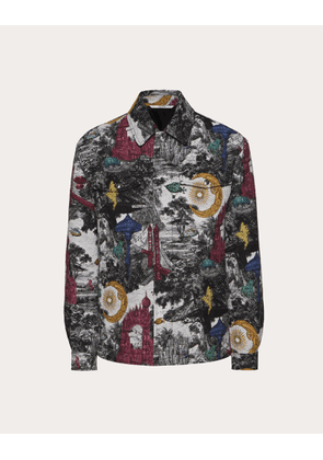 Valentino Uomo Jacquard Pea Coat With Dreamatic Motif Man Multicolored Cotton 51%, Polyester 35%, Acrylic 9%, Other Fibres 5% 46