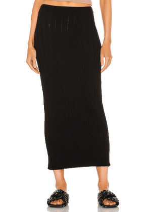 SNDYS Lounge Baha Ribbed Skirt in Black. Size M, S, XS.