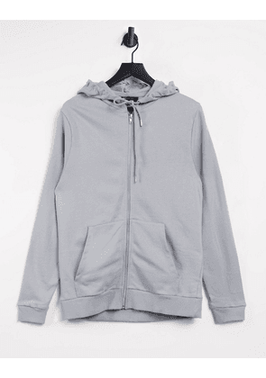 ASOS DESIGN organic zip up hoodie in grey