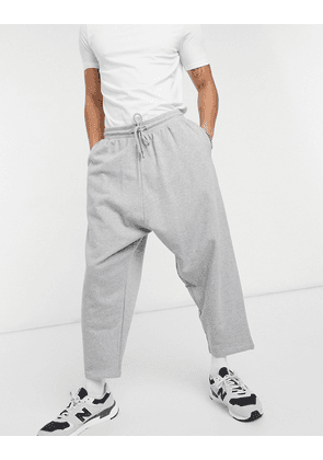 ASOS DESIGN organic drop crotch joggers in grey marl