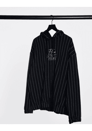 ASOS DESIGN oversized hoodie with stripes and embroidered print-Black