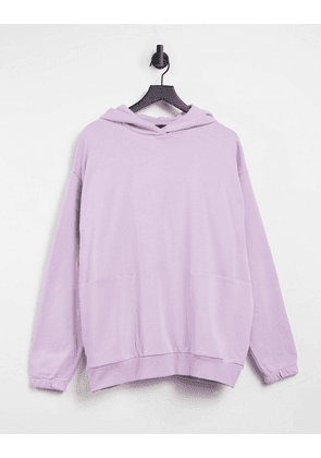 ASOS DESIGN oversized hoodie with square pockets in lilac-Purple