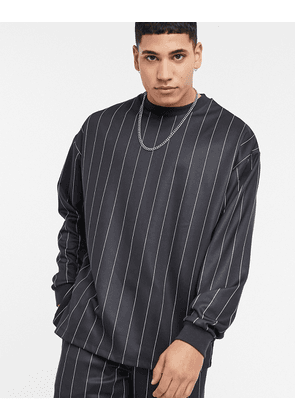 ASOS DESIGN co-ord oversized poly tricot sweatshirt with all over stripes-Black