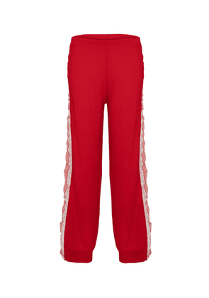 Silk-trimmed wool trackpants