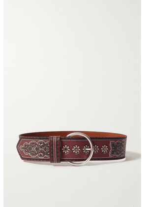Etro - Printed Textured-leather Belt - Burgundy