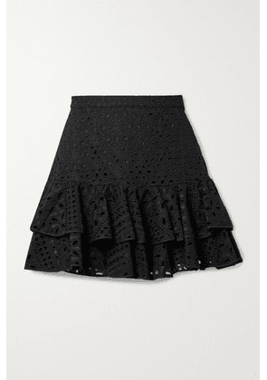 Charo Ruiz - Natalie Tiered Broderie Anglaise Cotton-blend Mini Skirt - Black