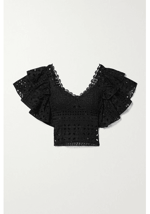 Charo Ruiz - Belle Cropped Ruffled Crochet-trimmed Broderie Anglaise Cotton-blend Top - Black