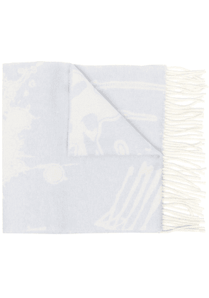 Acne Studios abstract-print wool scarf - Blue