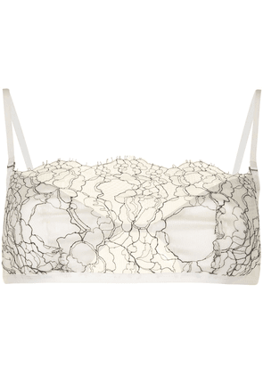 Dion Lee lace-panelled bra - White