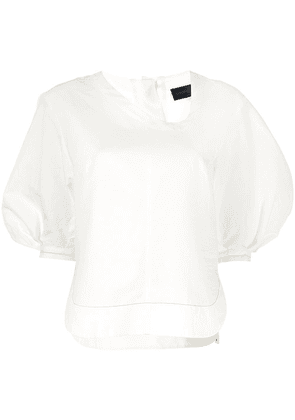 Eudon Choi asymmetric-neck puff-sleeve blouse - White