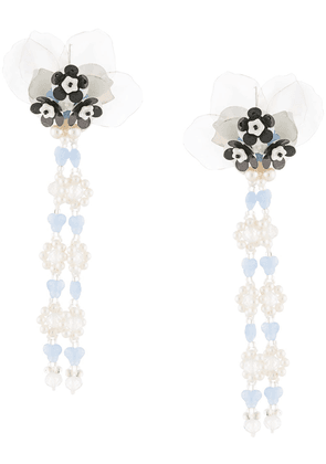 Biyan pearl embellished floral drop earrings - Blue