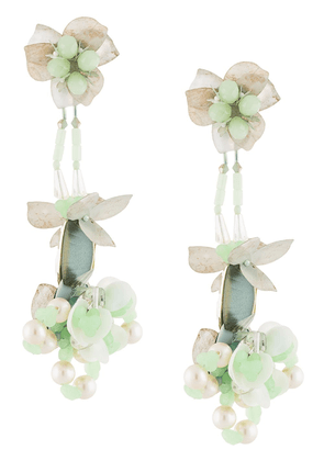 Biyan bead embellished floral earrings - Green