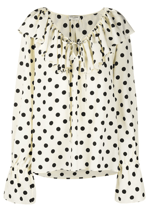 Saint Laurent ruffle collar polka-dot print blouse - White