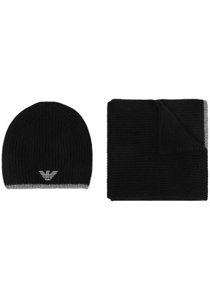Emporio Armani ribbed-knit beanie and scarf set - Black