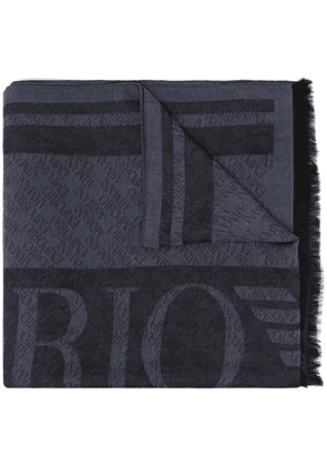 Emporio Armani two-tone monogram scarf - Blue
