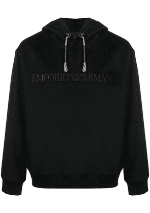 Emporio Armani embroidered-logo cotton hoodie - Black