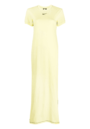Nike logo-embroidered short-sleeved maxi dress - Yellow