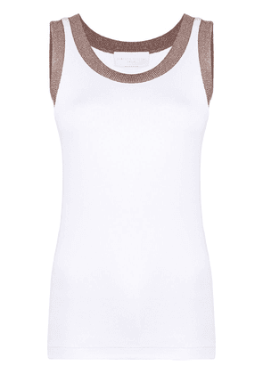 Fabiana Filippi metallic-trim tank top - White
