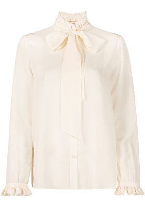 Saint Laurent pleated collar pussy-bow blouse - White