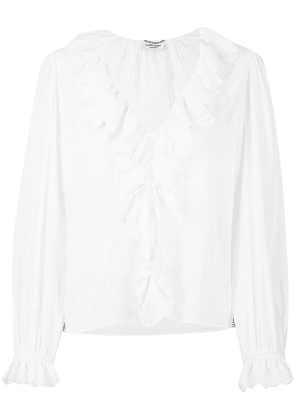 Saint Laurent ruffle V-neck blouse - White