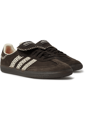 adidas Consortium - Wales Bonner Samba Crochet- and Leather-Trimmed Suede Sneakers - Men - Black