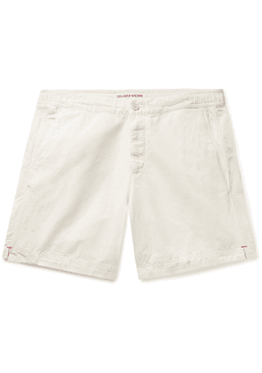 ORLEBAR BROWN - Bulldog Garment-Dyed Slubbed Cotton and Linen-Blend Shorts - Men - White