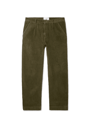FOLK - Signal Tapered Cropped Pleated Cotton-Corduroy Trousers - Men - Green
